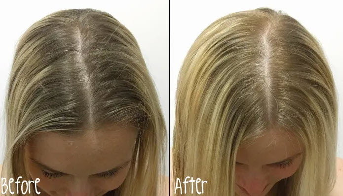 lighter hair using shampoo before and after